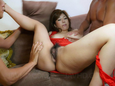 Little holes of Naho Hadsuki get two cocks hard action